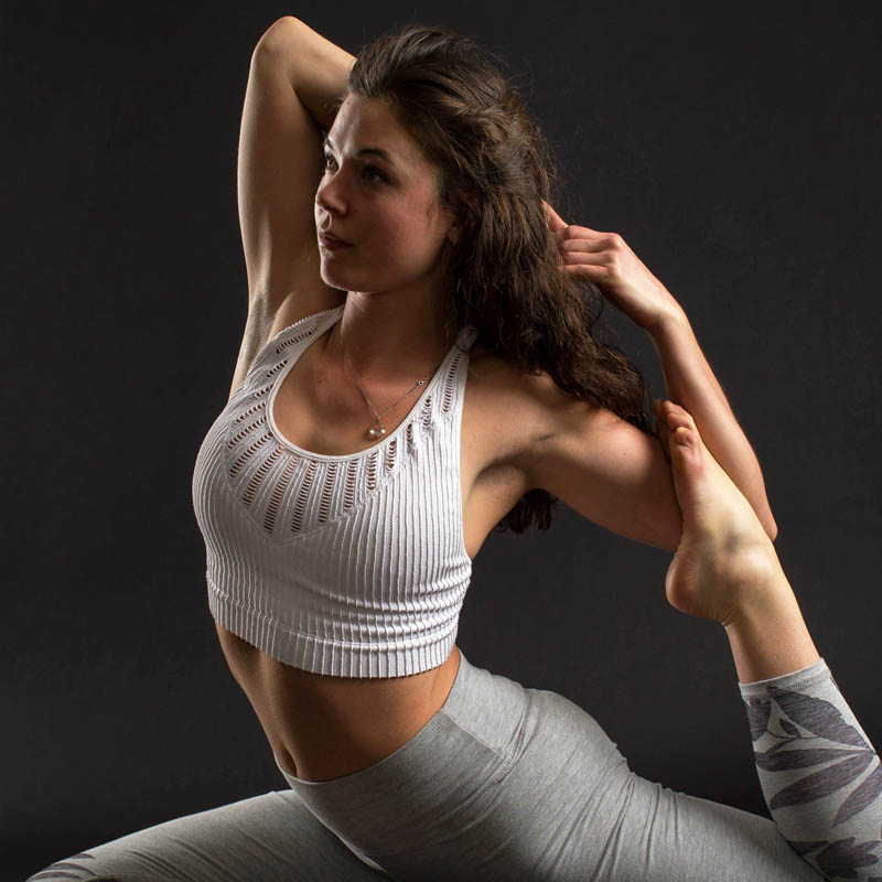 athletic portrait of Ashland woman doing yoga