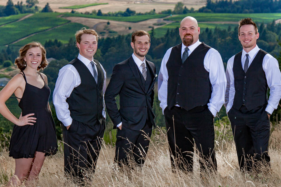 groomsmen and bridesmaids at country wedding